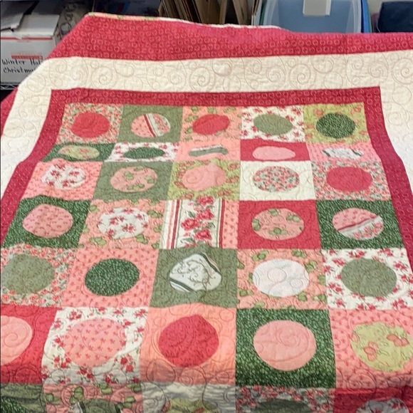 Handcrafted Quilt With Pinks and Greens Beautiful
